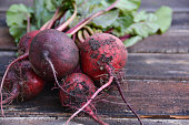 A bunch of beets freshly harvested from the garden.