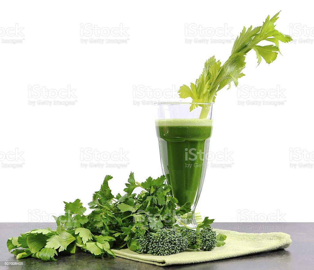 Freshly juiced green vegetable juice stock photo