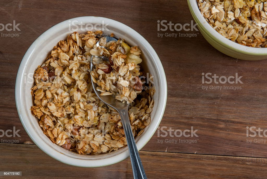 Freshly made autumn apple crumble stock photo
