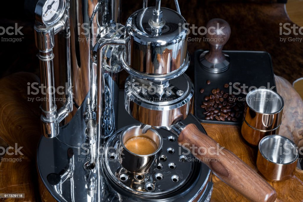 Freshly Made Espresso High End Home Barista Espresso Machine At Sunrise Stock Photo Download Image Now Istock