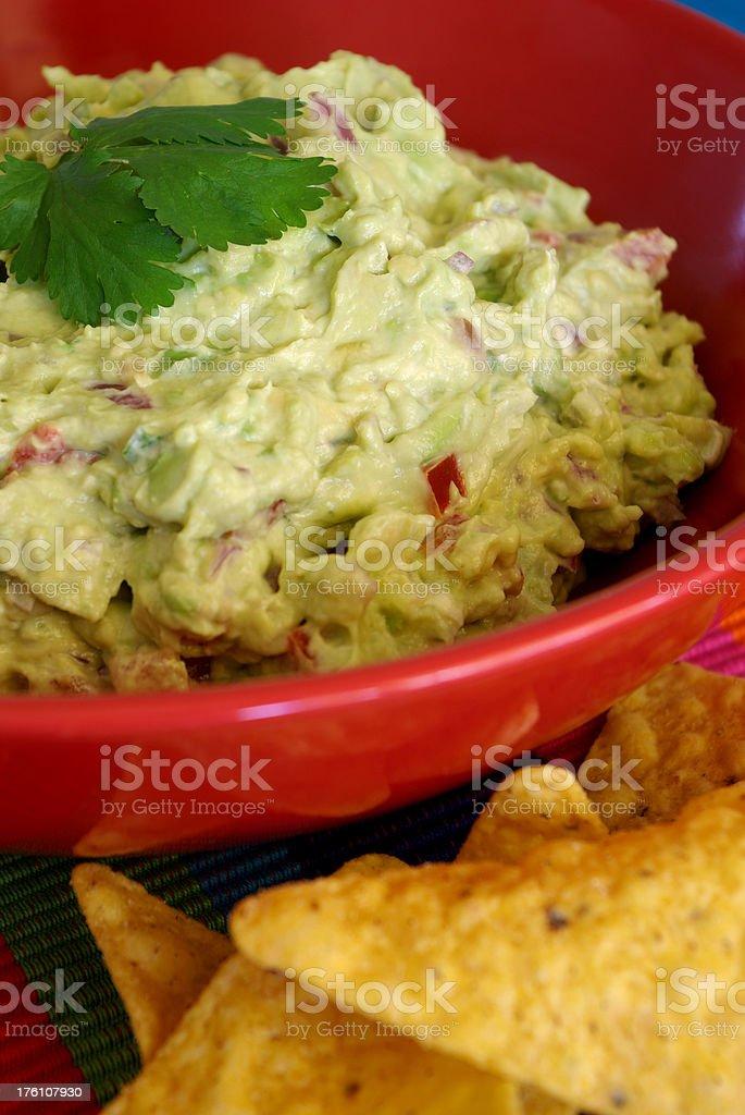 Freshly made guacamole stock photo