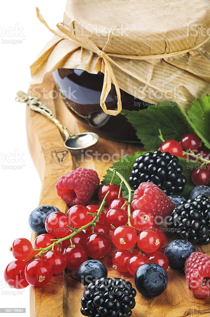 Freshly made jam and organic berries royalty-free stock photo