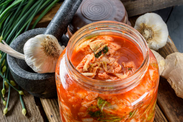 Freshly Made kimchi Fresh Kimch made of Napa Cabbage kimchee stock pictures, royalty-free photos & images