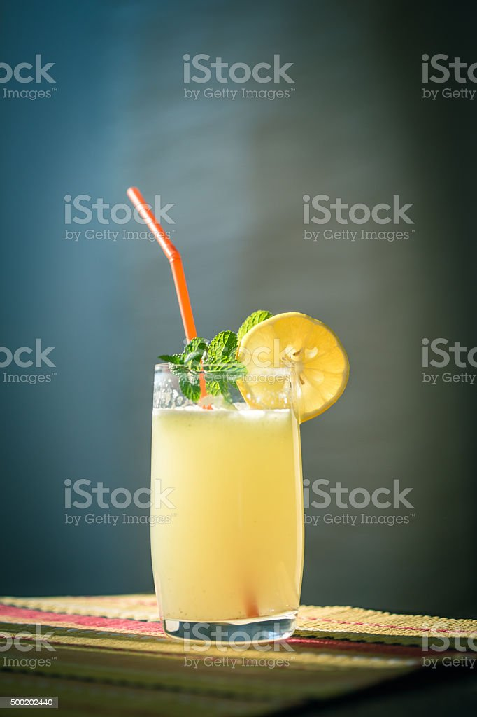 Freshly made lemonade with a hint of mint stock photo