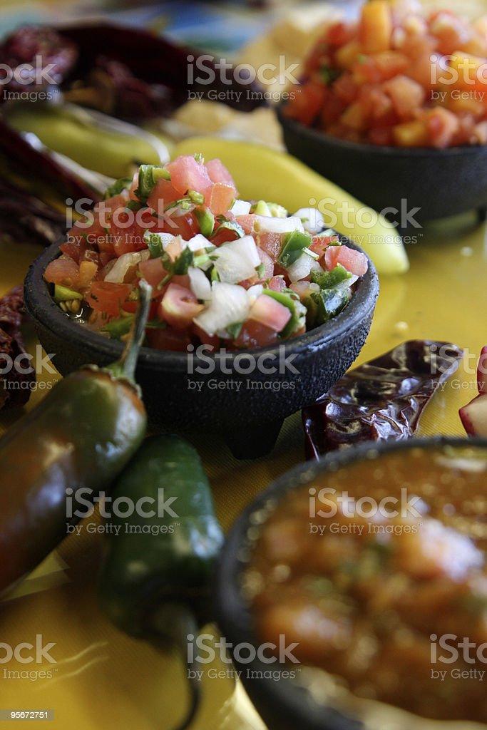 Freshly made salsas stock photo