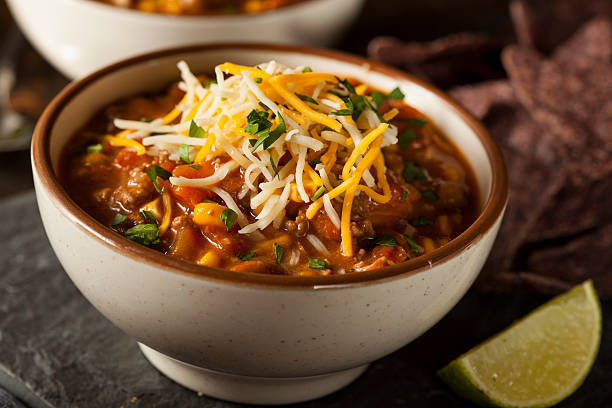 Freshly made Southwestern Santa Fe soup with cheese stock photo