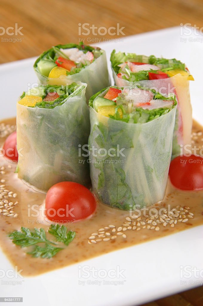 freshly made spring rolls royalty-free stock photo