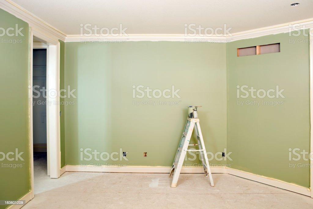 Freshly Painted Green Bedroom Wall stock photo