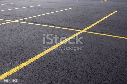 A freshly paved asphalt parking lot in Michigan.