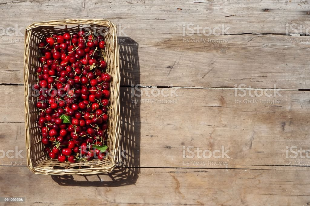 Freshly picked cherries in a rectangular wicker basket. An old weathered wooden table as background - Royalty-free Agriculture Stock Photo