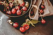 Freshly Picked organic Cherries