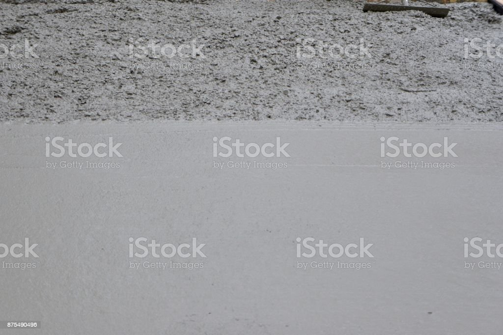 Freshly Poured Concrete Smooth and Rough stock photo