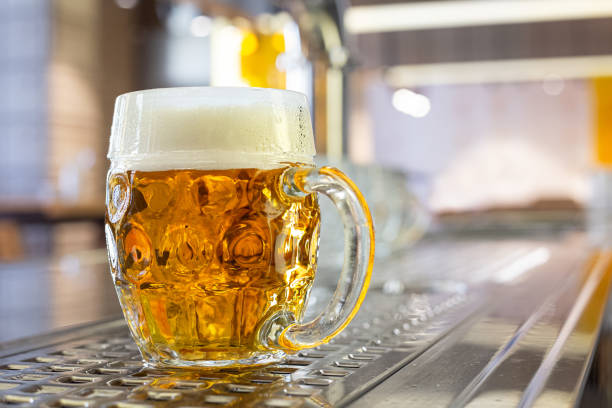 Freshly poured draft lager beer in a dimpled glass mug on stainless steel counter in a modern pub. Space for text. Freshly poured draft lager beer in a dimpled glass mug on stainless steel counter in a modern pub. Space for text. pilsner stock pictures, royalty-free photos & images