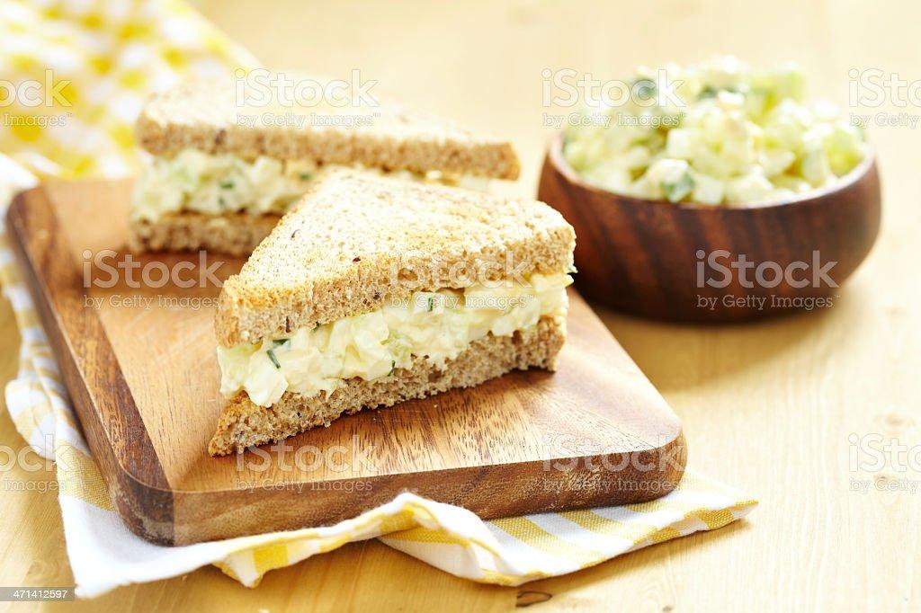 Freshly prepared egg salad sandwich stock photo