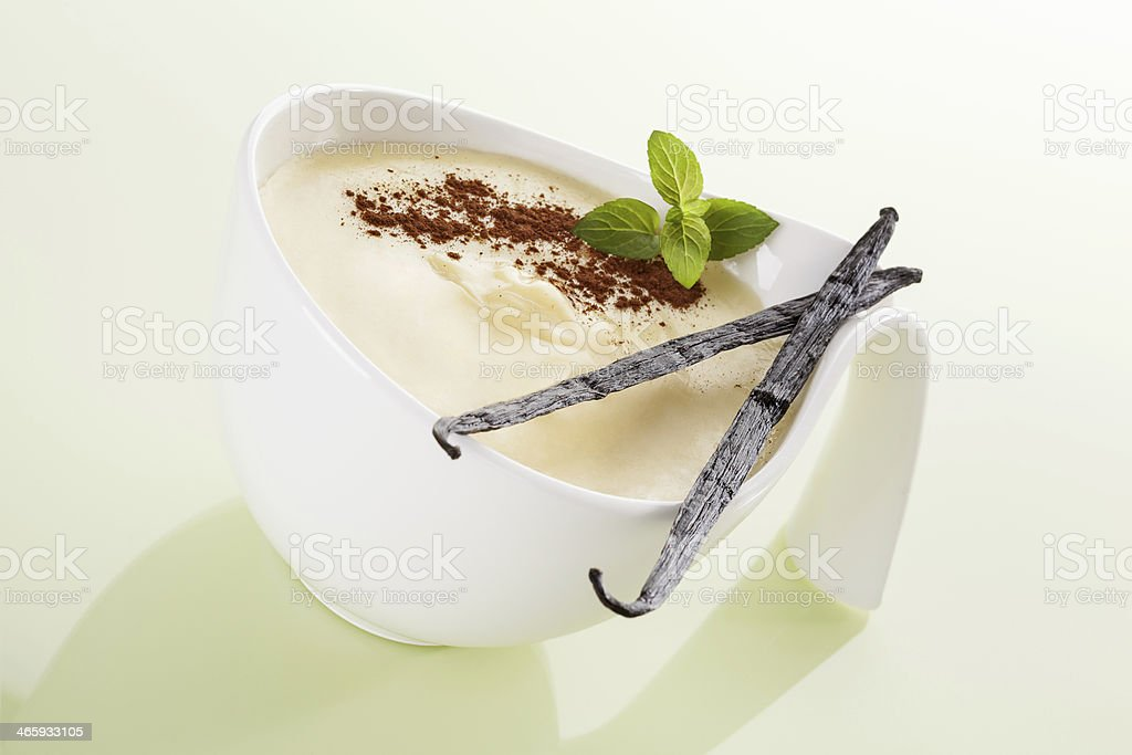 Freshly prepared pudding in a white bowl stock photo