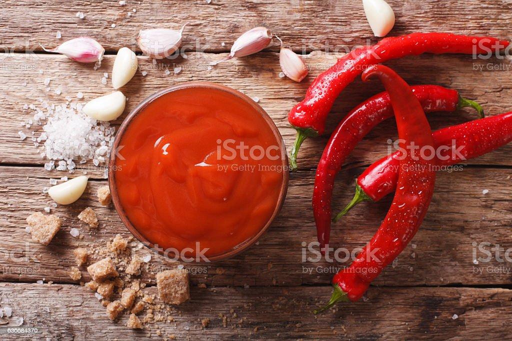 Freshly prepared Sriracha Hot chilli Sauce close-up on the table stock photo
