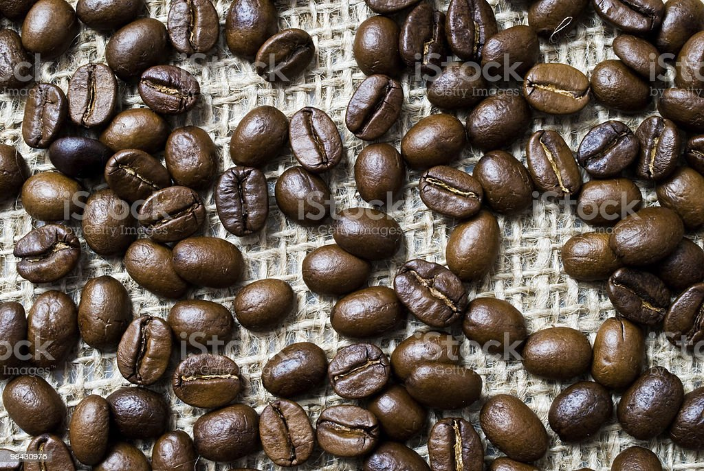 Freshly roasted coffee beans on sackcloth royalty-free stock photo