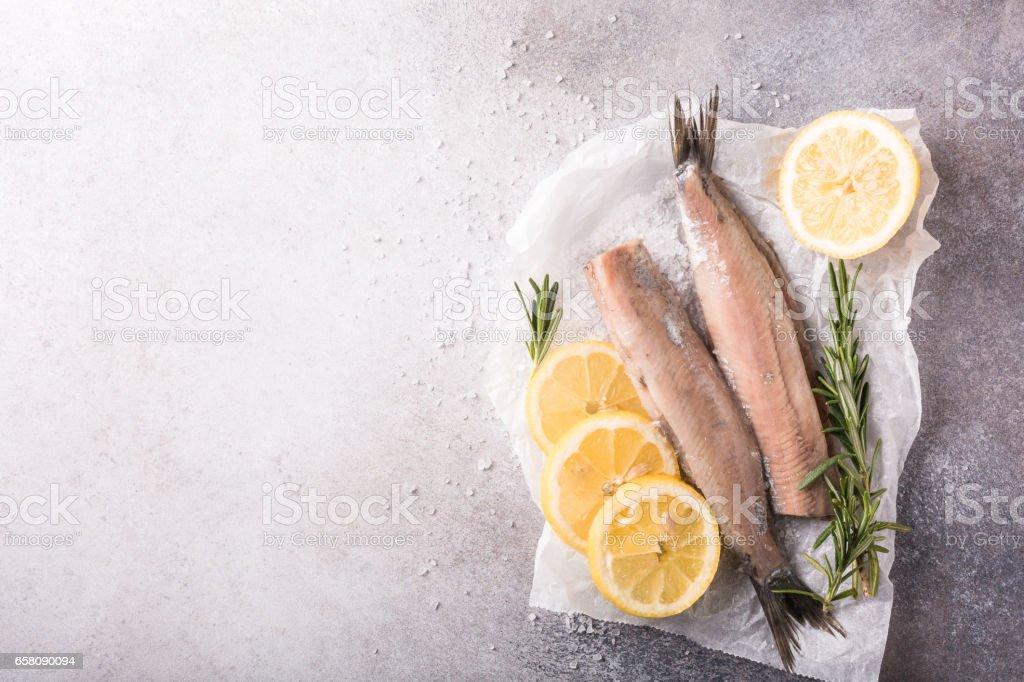 Freshly salted herring royalty-free stock photo