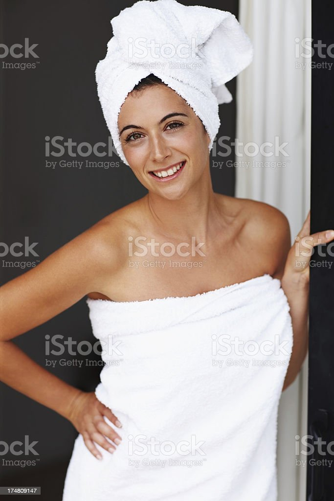 Freshly showered and wrapped in towels stock photo