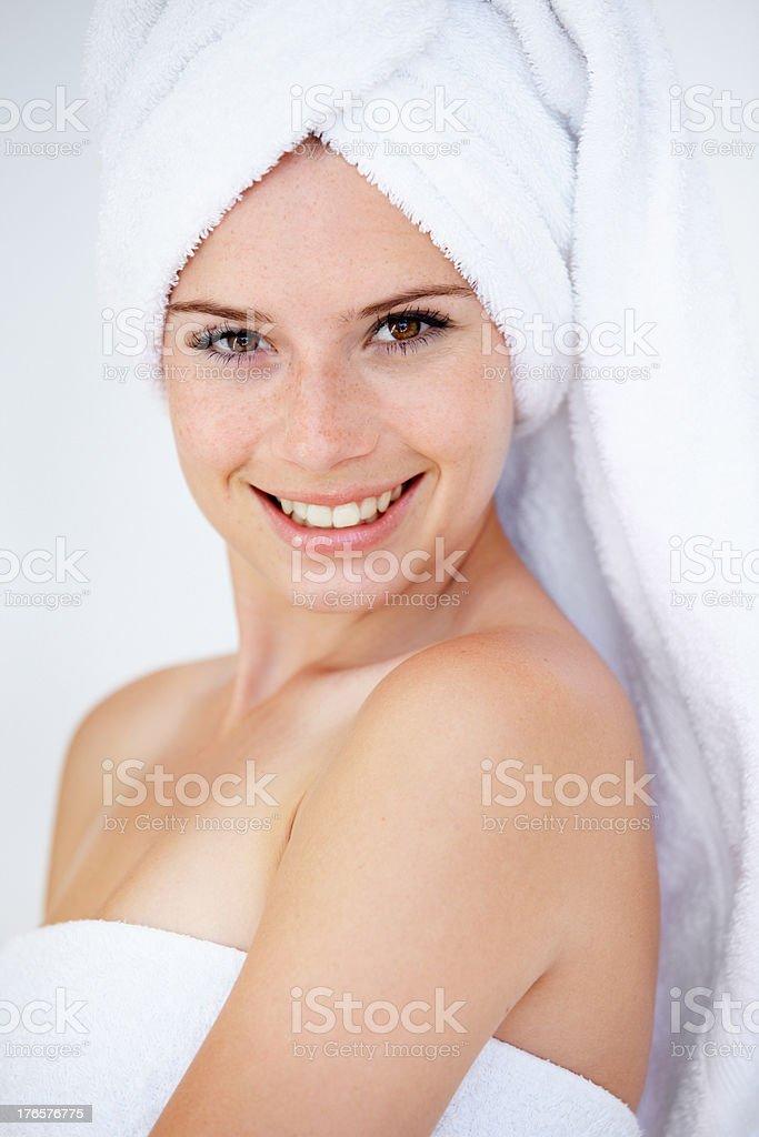 Freshly showered stock photo