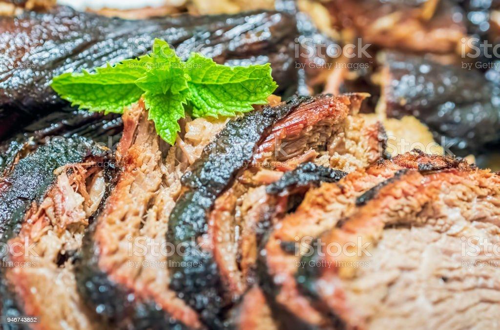 Freshly smoked meat stock photo