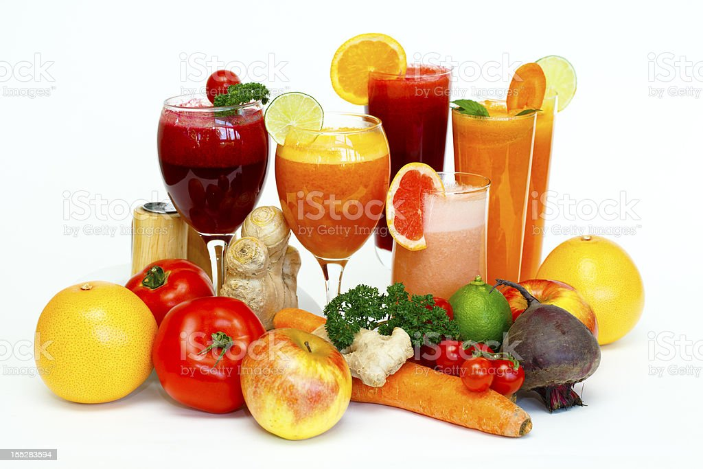 Freshly squeezed fruit and vegetables cocktails royalty-free stock photo