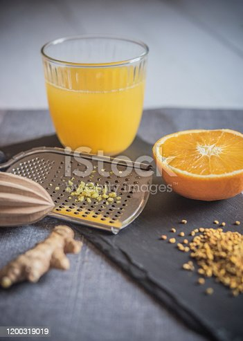 Healthy Vitamin Drink with Ginger, Oranges and Pollen