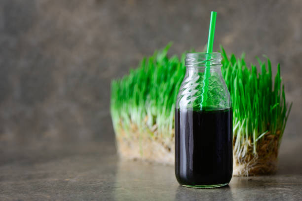 Freshly squeezed wheatgrass portion in a bottle with a straw Freshly squeezed wheatgrass portion in a bottle with a straw chlorophyll stock pictures, royalty-free photos & images