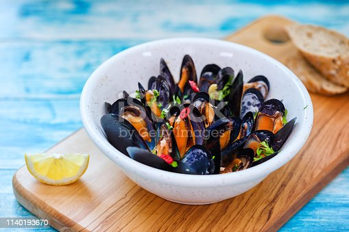 Freshly steamed blue mussels dish with white wine,chili pepper and parsley