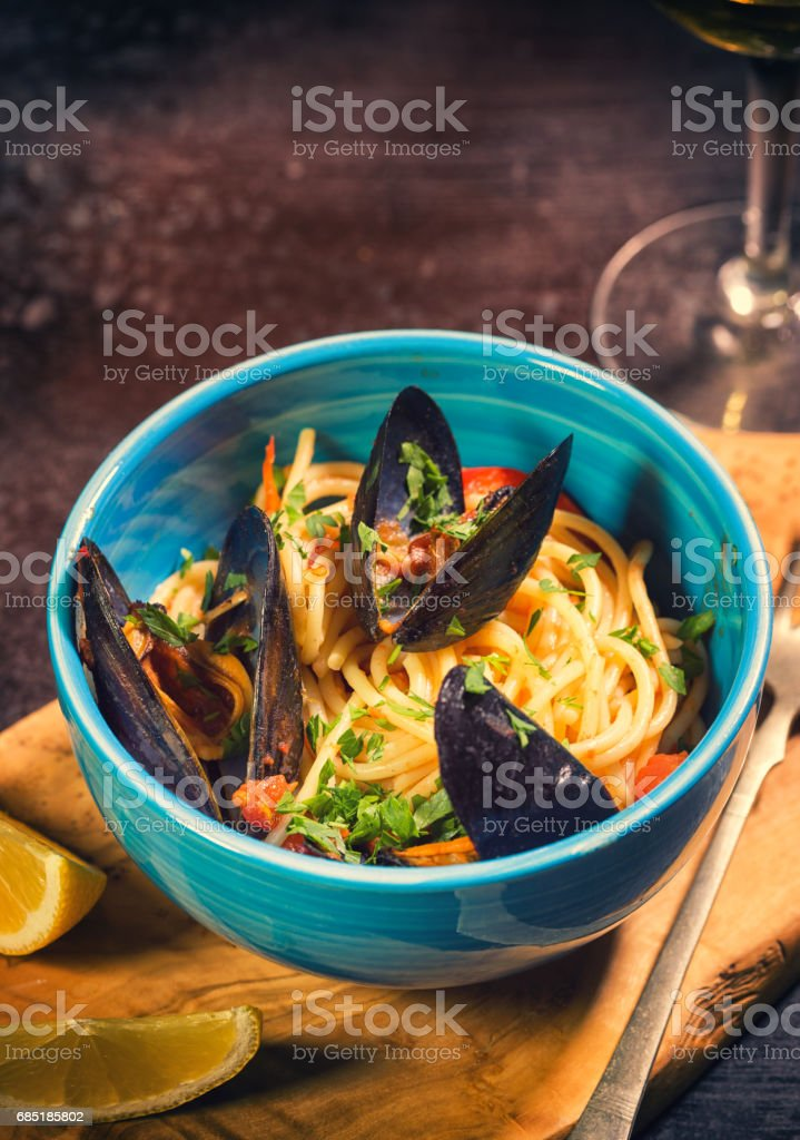 Freshly Steamed Mussels With Spaghetti royalty-free stock photo