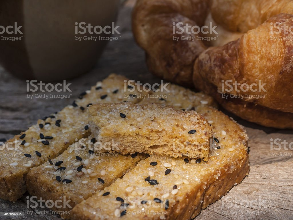 Freshly toasted salt and sesame bread,  croissant royalty-free stock photo