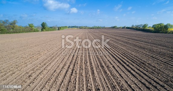 Freshly trailed agricultural field in spring time