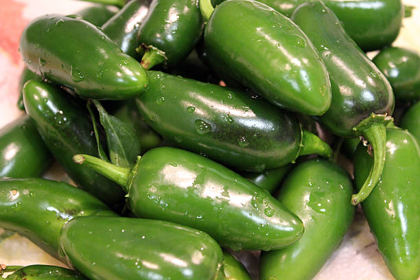 freshly washed batch of jalapeno peppers - kitchen preparation - pam schodt stock photos and pictures