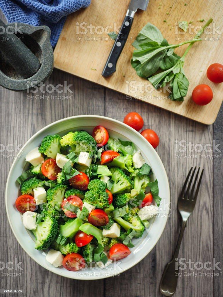 Freshness broccoli salad stock photo