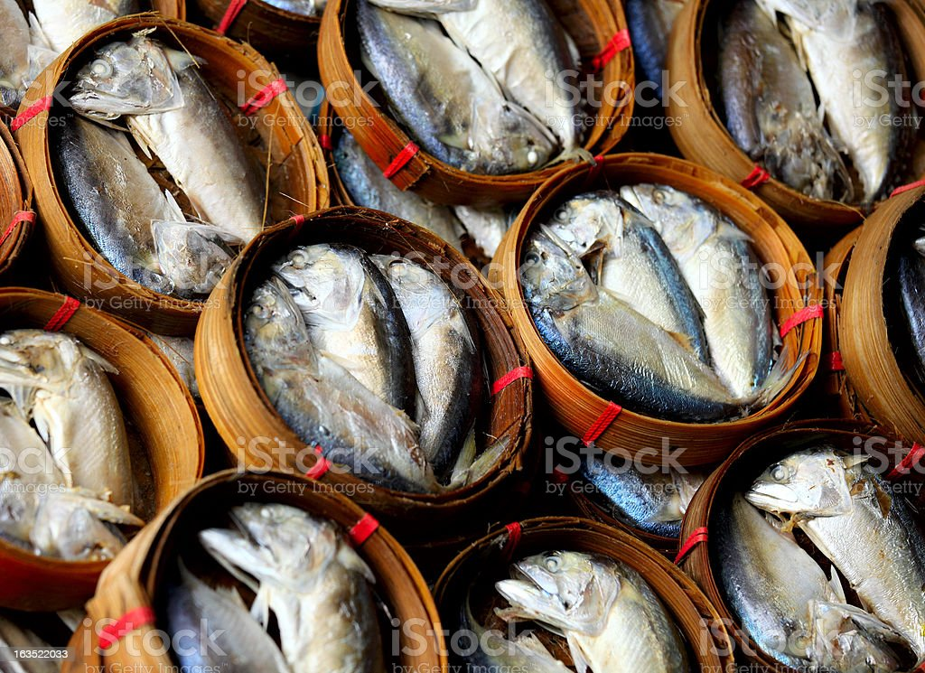 freshness fish in bamboo cage royalty-free stock photo