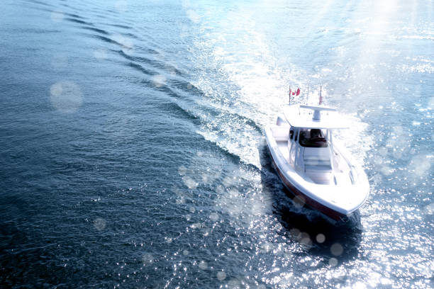 freshness of sea and boat in sunny day stock photo