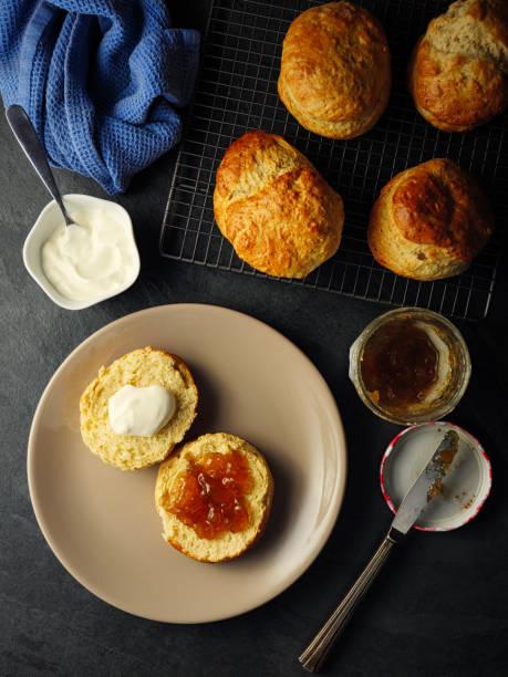 frische scones mit marmelade und sahne - scones backen stock-fotos und bilder