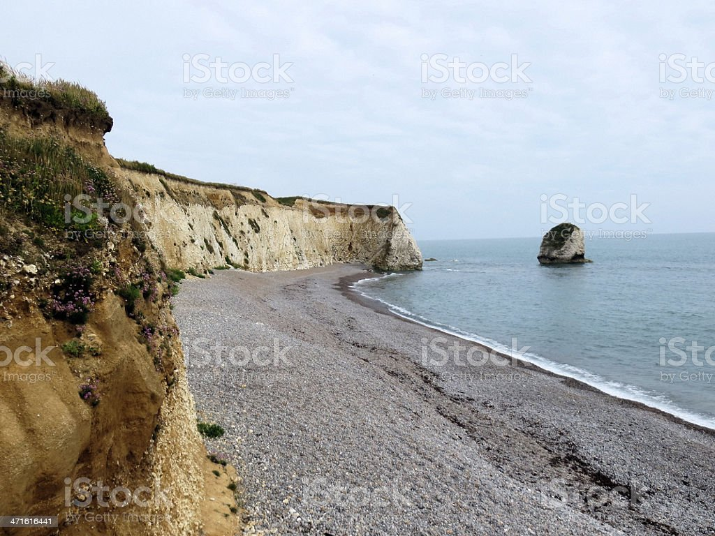 Freshwater Bay and stack stock photo