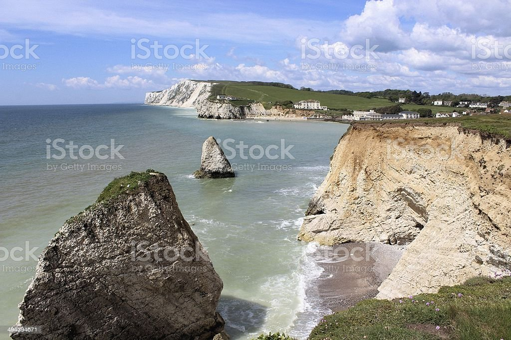 Freshwater Bay and Tennyson Down stock photo