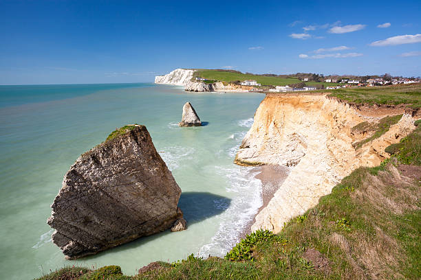 Freshwater Bay Isle Of Wight England Dramatic chalk cliffs at Freshwater Bay on the Isle Of Wight England UK Europe freshwater fish stock pictures, royalty-free photos & images