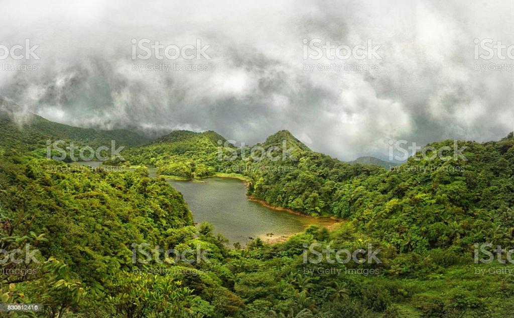 Freshwater Lake, Dominica stock photo
