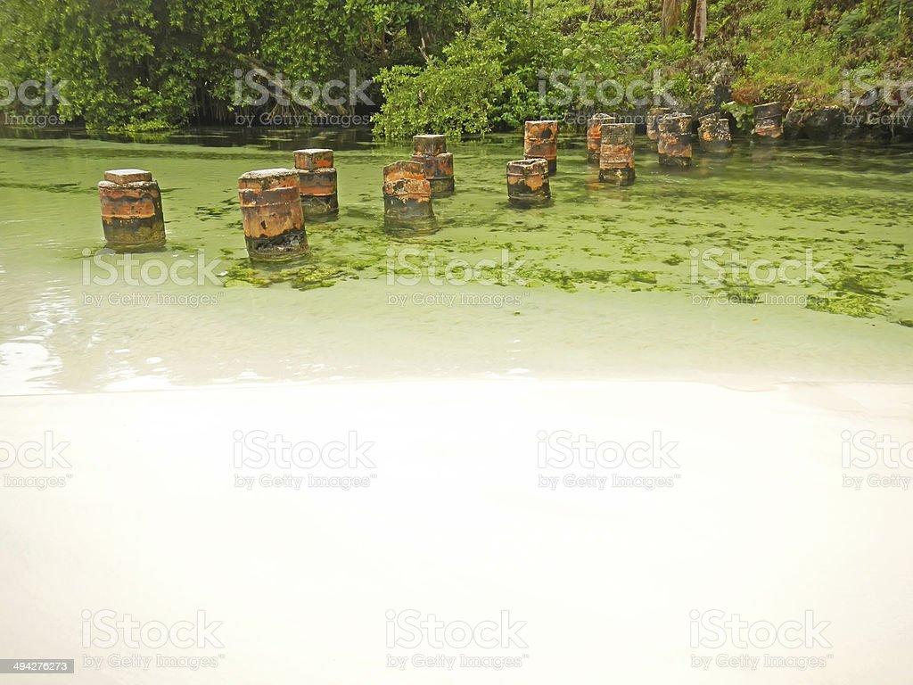 Freshwater river at Rincon beach, Samana peninsula stock photo