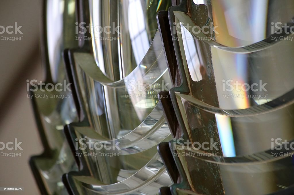 Fresnel Lens at Pigeon Point Lighthouse stock photo