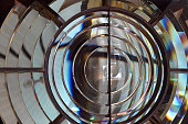 Lighthouse Fresnel lens close up. Abstract background and texture.
