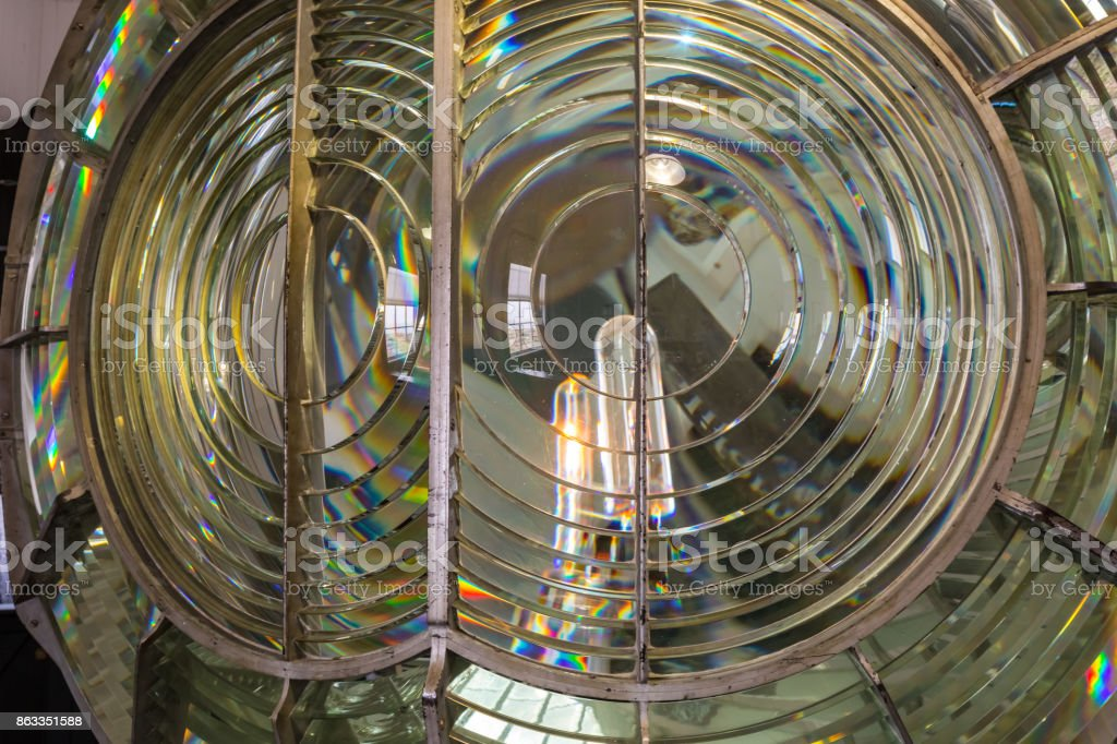 Fresnel lens in an old lighthhouse stock photo
