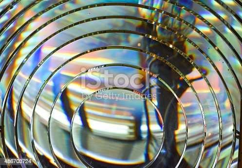 A colorful detail of a fresnel lense at the lighthouse at Ponce Inlet, south of Daytona Beach, Florida.
