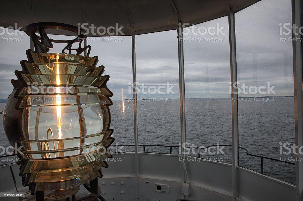 Fresnel Light, Owl's Head Lighthouse stock photo
