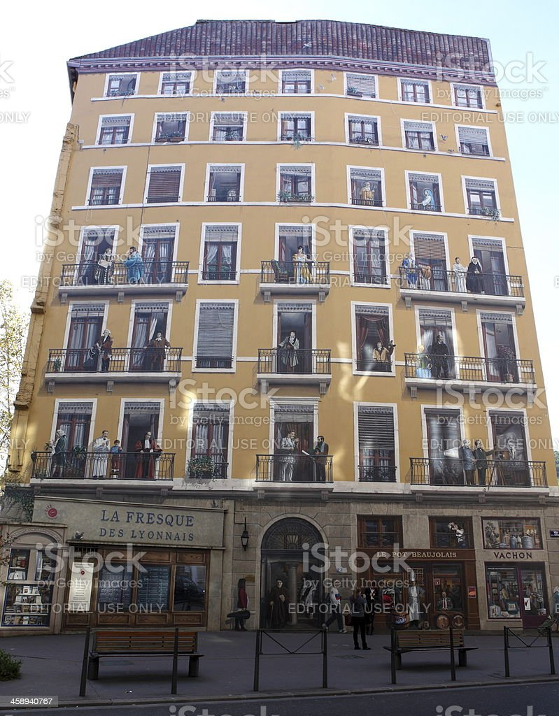 Fresque des Lyonnais in Lyon, France stock photo