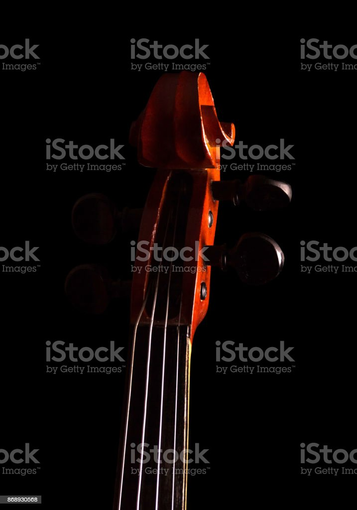 Fretboard violin with strings isolated on black stock photo