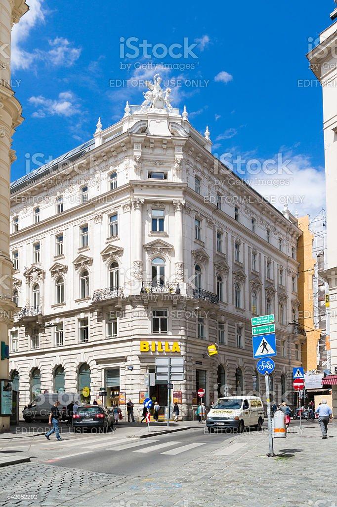 Freyung square street scene with people, Vienna, Austria stock photo